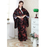 High Quanlity Black Red Japanese Women's Silk Kimono With Obi Noble Sexy Prom Gown Dress Dragon Phenix Pattern One SizeH0052