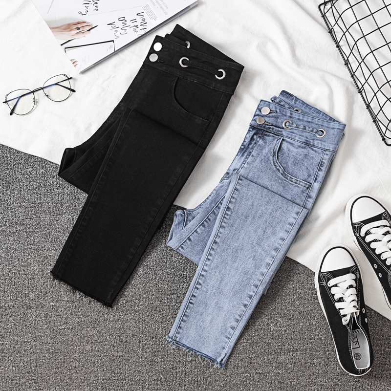 JUJULAND High Waist   Jeans   For Women Casual Stretch Female Pencil   Jeans   Lady Vintage Denim Pants Slim Elastic Skinny Trouser 8008