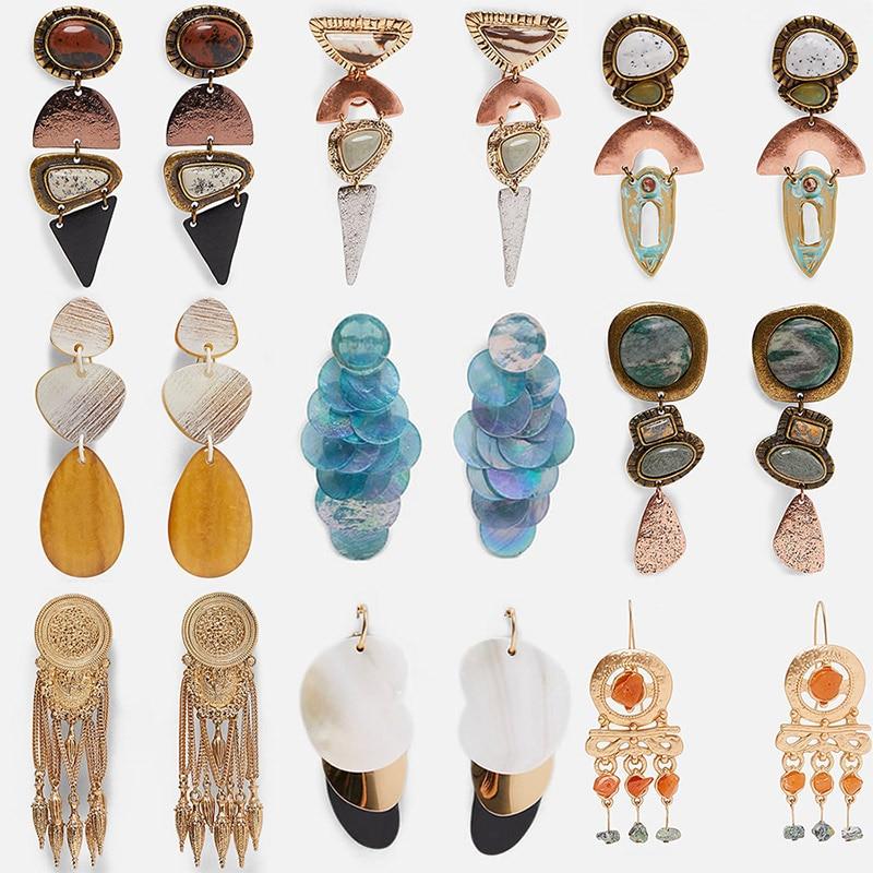 Miwens 2019 Za Hot Newest 32 Designs Resin Wooden Stone Metal Drop Earrings Women Vintage Trendy Bohemia Wholesale Jewelry A808