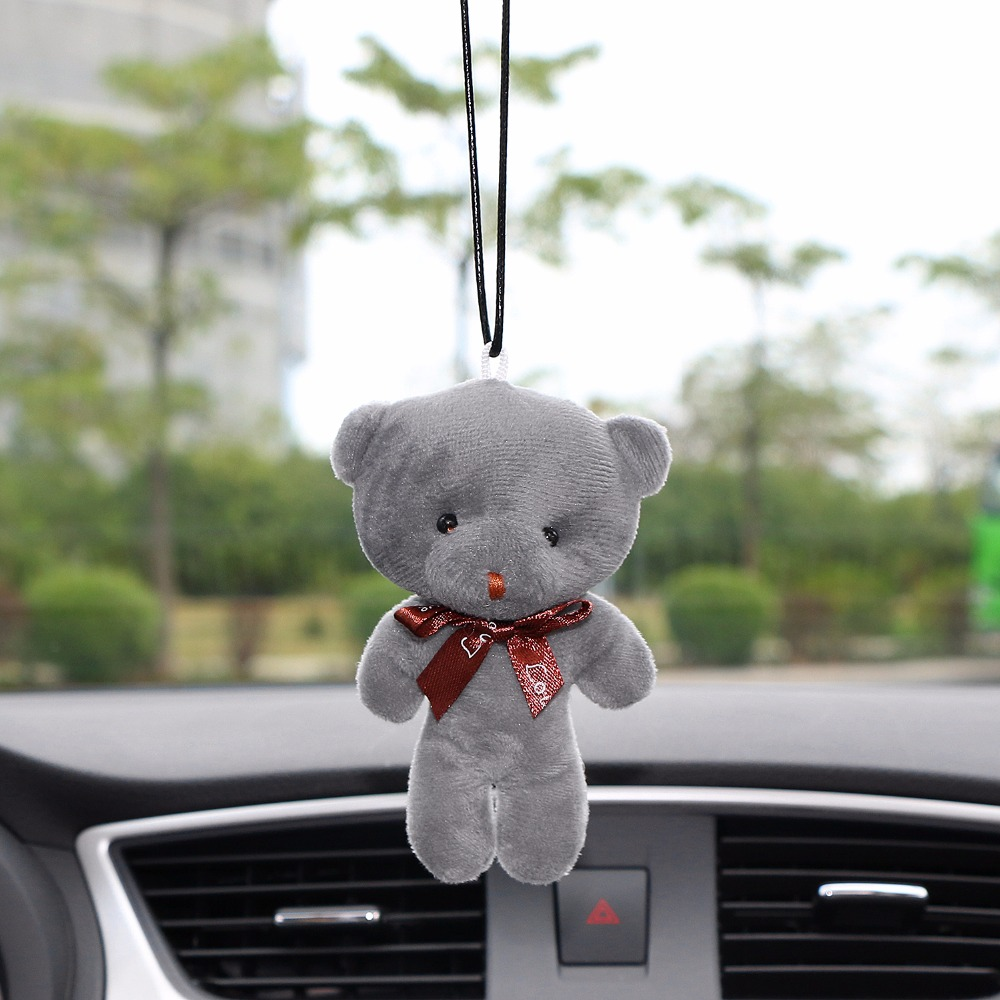 Car Pendant Plush Stuffed Cute Bear Decoration Hanging Ornament Automobile Rear View Mirror Suspension Tie Bear Accessories Gift