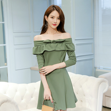 2018 Spring New Style Women Sweet Pure Color Large Swing One-piece Dress Off Shoulder Slash Neck Ruffles