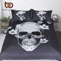BeddingOutlet Sugar Skull Pościel Kołdra Pokrywa Zestaw 3 sztuk Biały i Czarny Kwiatowy Kwiaty Powłoczki Królowa Mody Tekstylia Domowe