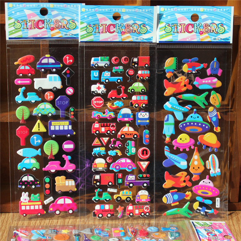 5pcs/lot Bubble Stickers Cartoon Animal Car Fruit Smile Face Love Heart Number Letters DIY Scrapbook Sticker Kids Children Toys new cute head portrait sticker smiling face interesting smile face stickers children kids toy for phone notebook message twitter