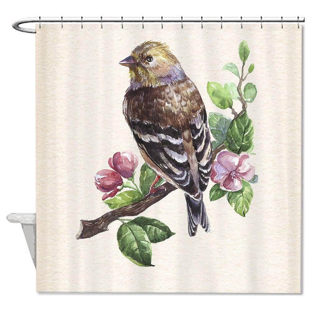 Waterproof Anti-bacterial Cute Bird Floral Bathroom Shower Curtain,Anti-mildew Resistant Fabric Shower Curtain For Bathroom