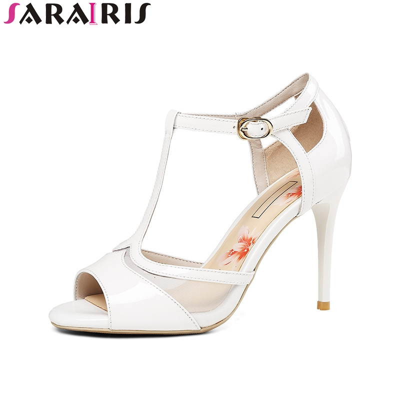 SARAIRIS 2018 Summer New Arrival Women Patent Cow Leather T-strap Sandals Fashion Mesh High Heels Shoes Woman Big Size 33-40 new arrival black brown leather summer ankle strappy women sandals t strap high thin heels sexy party platfrom shoes woman