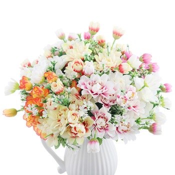 White Pink Colorful DIY Silk Daisy Artificial Flower High Quality Fake Chrysanthemum Flowers for Home Garden Wedding Table Decor
