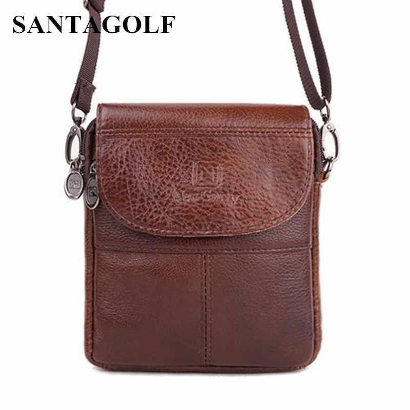Marca mini portátil do vintage genuíno sacos de couro dos homens de Alta Qualidade Natural Cowskin sacos homens casual messenger