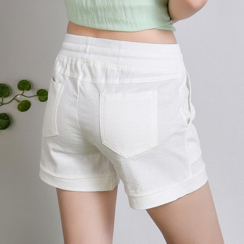 06e80430071 New Summer shorts women Elastic high waist short Fashion Loose solid cotton  linen feminino short for women candy color shorts-in Shorts from Women s ...