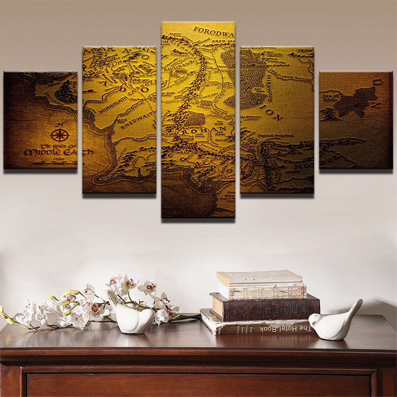 5 Panels Game of Thrones Retro Map Canvas Painting Prints Framed Wall on game of thrones live map, game of thrones people map, game of thrones books map, game of thrones family map, game of thrones antique map, game of thrones black and white map, game of thrones poster map,