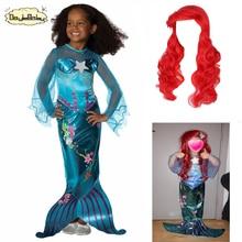Платье принцессы русалки для девочек; платье из тюля; карнавальный костюм; Детская повязка на голову с русалочкой Ариэль на Хэллоуин