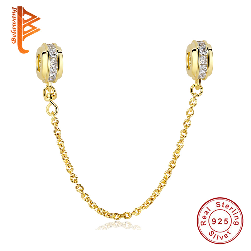 Jewelry & Accessories 925 Sterling Silver Charms Bead Diy Gold Love Safety Chain For Original Pandora 925 Sterling Silver Bracelets Bangles Xcy139 Beads & Jewelry Making