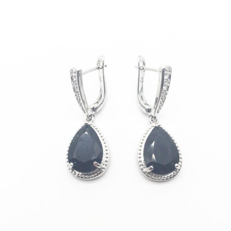 Charming Women Jewelry 925 Sterling Silver Water Drop Black Cubic Zirconia Earrings