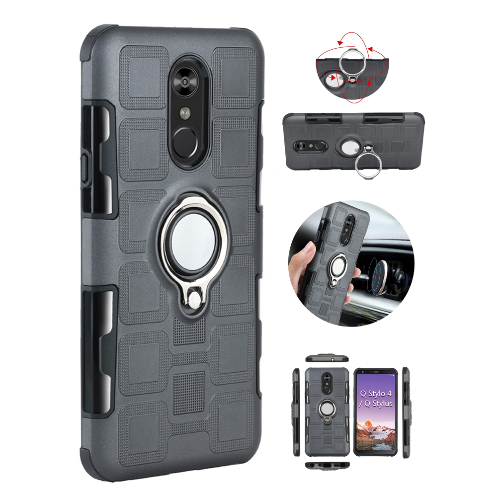 Silicone Case For LG Q Stylo 4 Shockproof Armor Stand Back Cover For LG Stylo 4 Q710MS Protection Phone Cases Shell Capa Coque (China)