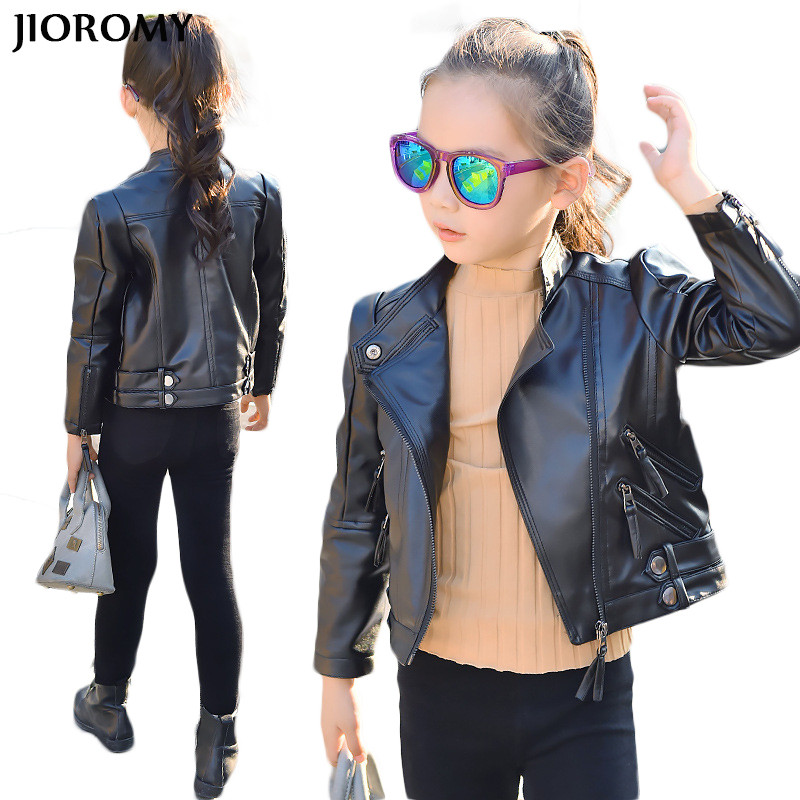 JIOROMY Girls Leather Coat 2017 Jacket PU Leather Girls Jackets Children Outwear for Large Girls Boys Clothing Coats Costume spring kids clothes pu leather girls leather dress jackets children outwear for baby girls clothing coats costume 3 13years