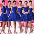Royal Blue Fashion Ball Gown Sweetheart Short Bridesmaid Dress With Lace Embroidery 2017 Party Dress With Flowers