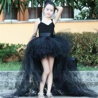 ふわふわ夏女の子vネックドレス子供黒花女の子長い床ウェディングパーティーチュチュドレス子供ハロウィン服