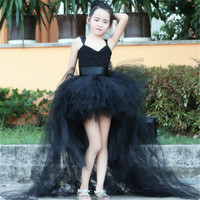 Fluffy Summer Girl V Neck Dress Children Black Flower Girls Long Floor Wedding Party Tutu Dresses Kids Halloween Clothing Wear