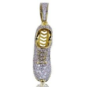 Image 2 - Ожерелье с подвеской TOPGRILLZ в стиле хип хоп, для мужчин и женщин, ожерелье с обувью, медным покрытием, микро покрытием, с фианитами, золотого цвета