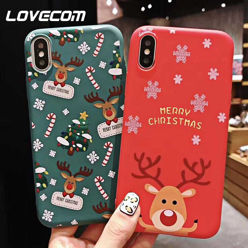 LOVECOM Merry Christmas Hot Case For iPhone XS XR XS Max X 8 7 6 6S Plus Soft TPU Cute Phone Back Cover Cases New Year Gifts