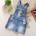 Весна 2017 ребенок джинсовой жилет платье новый ребенок 0-3 лет девочка denim платье