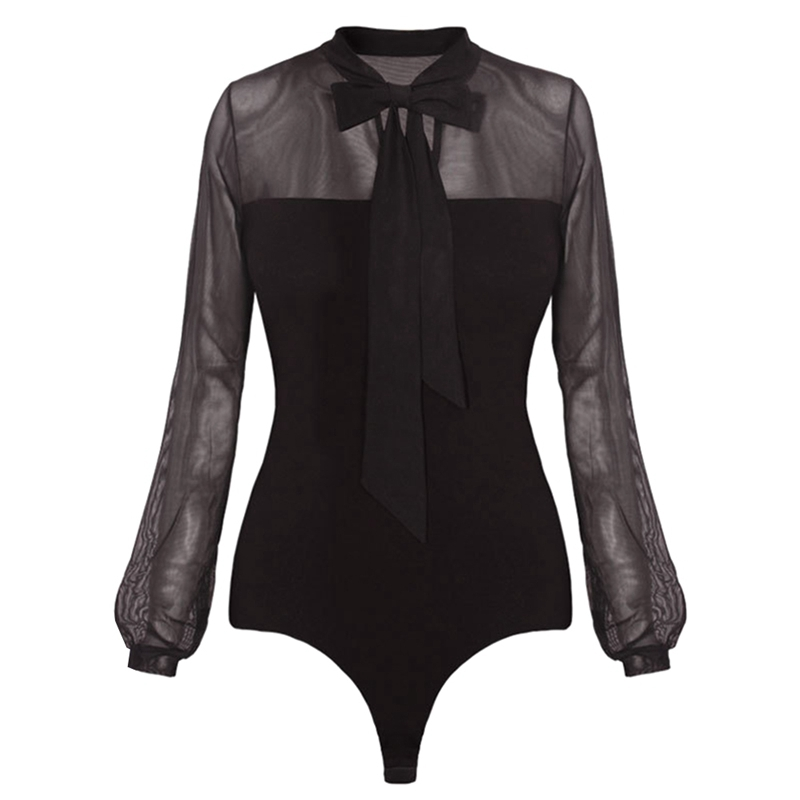 Black Ladies Bodysuit Top Woman Long Sleeve Rompers Bodysuit Body Feminino Lace Romper Women 2018