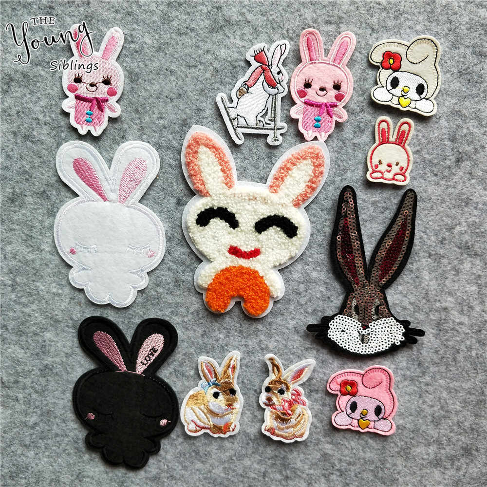 Exquisite Embroidered Rabbit Iron for Patches Cute Cartoon Animals Badges  Thermo-Stickers DIY Jeans Bag Hat Clothing Accessory