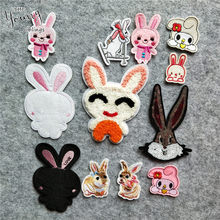 Exquisite Embroidered Rabbit Iron for Patches Cute Cartoon Animals Badges Thermo-Stickers DIY Jeans Bag Hat Clothing Accessory(China)