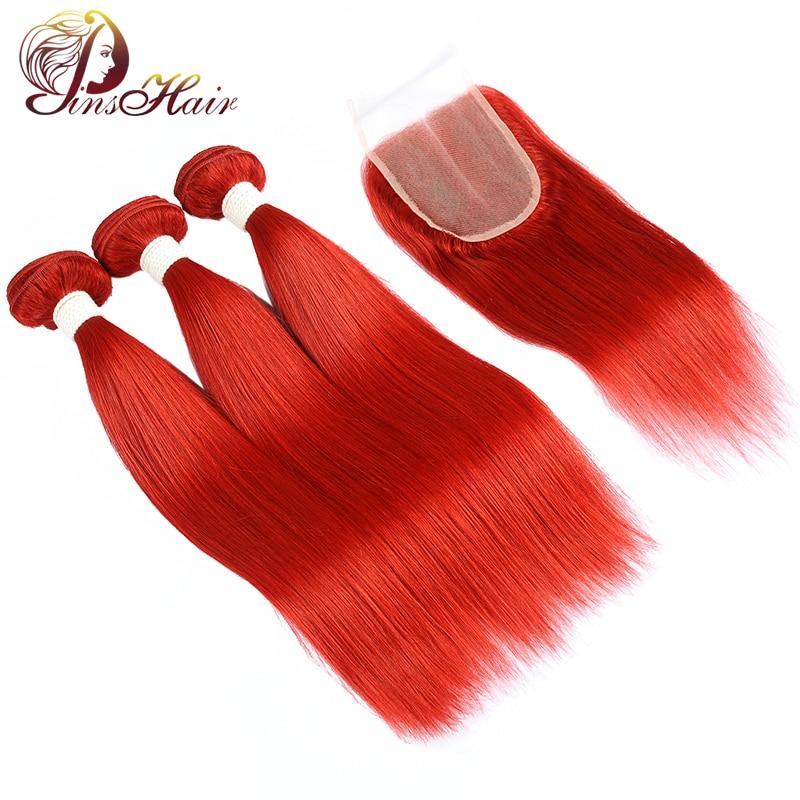 Pinshair Red Hair 99J Burgundy Human Hair Bundles With Closure Peruvian Straight Hair Bundles With Closure Non-Remy No Tangle