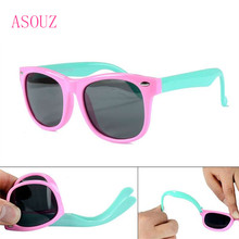 2019 new boys and girls polarized sunglasses UV400 square kids silicon