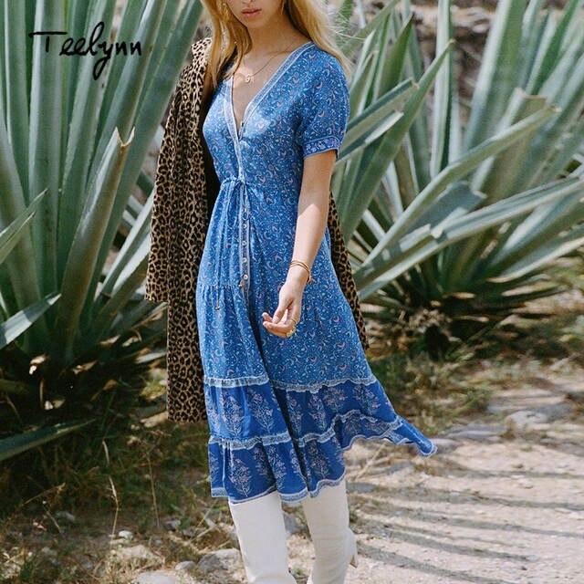 31713840e40aa US $25.52 37% OFF TEELYNN long boho dress 2018 autumn rayon Floral print  dresses short sleeve sexy v neck dress Hippie Bohemia women dress  Vestido-in ...