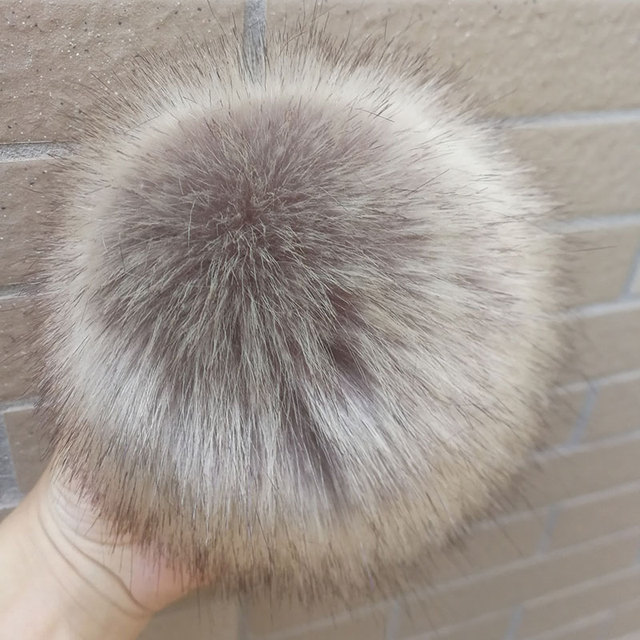 1PC Fluffy Faux Fox fur 12CM Pompoms with Press Stud/Button or Elastic Loop for Beanie knitting Hat Women Bag DIY Accessorsories