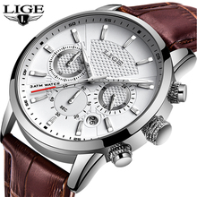 купить LIGE New Watch Men Fashion Sport Quartz Clock Mens Watches Brand Luxury Leather Business Waterproof Watch Relogio Masculino+Box дешево