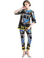 Tracksuit for Women's Runway Suits 2 Pieces Sets Femme 2019 Newest Summer Hot Womans Loose T Shirt Tops + Print Long Pants Set