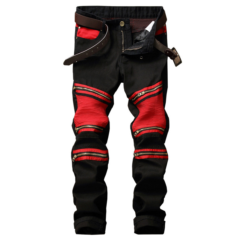 New Designer Men Biker Denim Joggers Pleated Motorcycle Jeans Pants Man Strentch Rap Jean Trousers Multi Zipper Red Patchwork