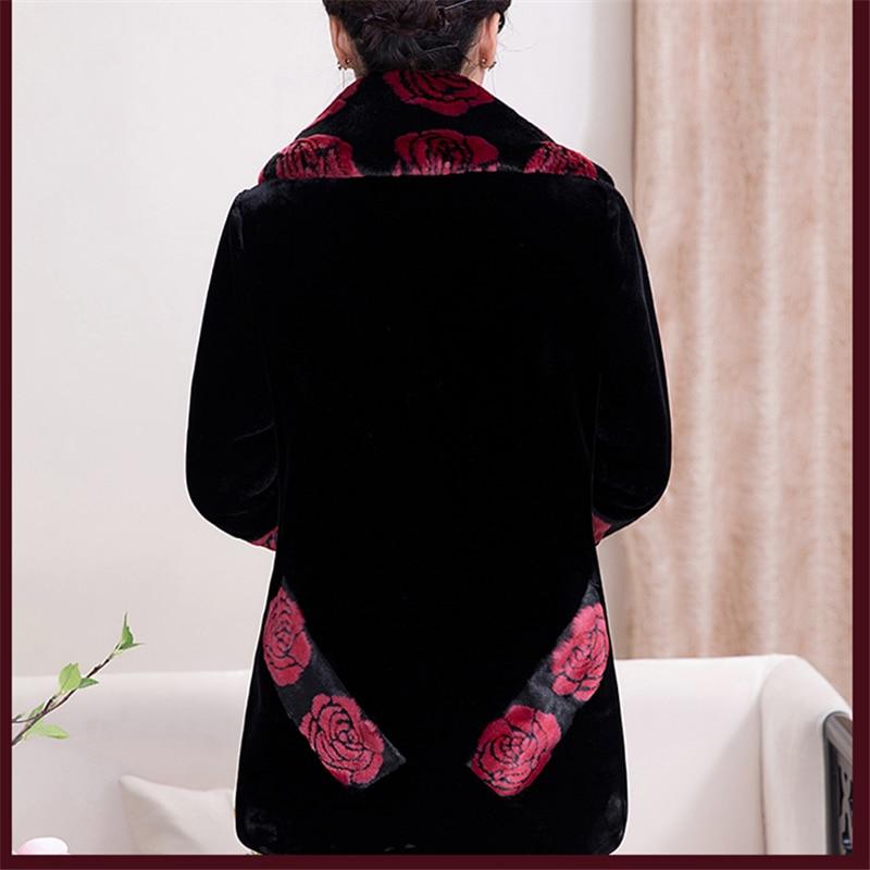 red Imballaggio 2018 Delle Criniera Donne Inverno Anziani Madre Spessore Cappotto Pelliccia E Sciolto Wine Velluto Età Black Di H0217 Imitazione Lungo Modo Mezza Della Xl qfgzU