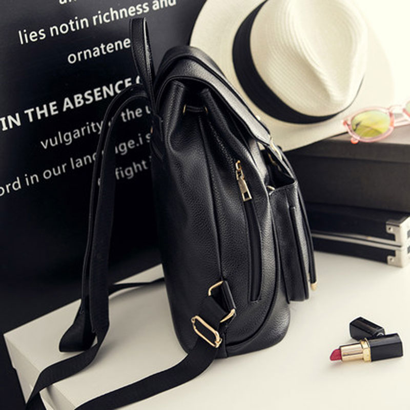 2018New Fashion Women Backpack Top Quality Leather Double Shoulder Bag School Bag for Teenage girl Female Casual Black Bagpack