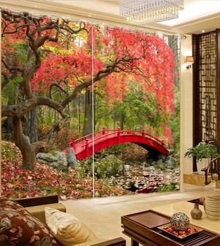 Modern 3D Curtain Forest red bridge Window Decor Curtain romantic tree Living room Bedroom Home decoration Curtains