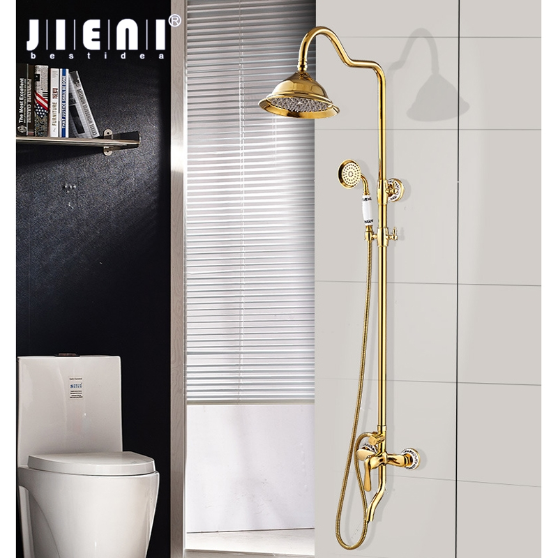 JIENI Luxury Wall Mounted Gold Plated Soild Brass Shower Faucet Set Single Ceramic Handle Tub Mixer Hand Shower Spray