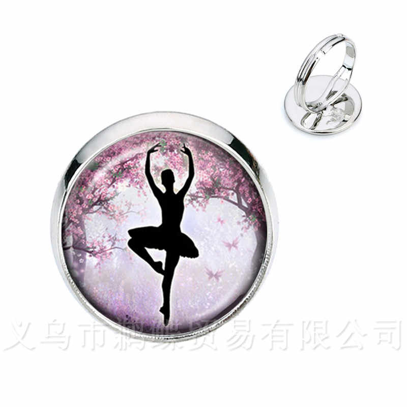 Ballerina Silhouette Cupola di Vetro Anelli Ballerina di Danza Argento/Golder 2 di Colore Placcato Anelli Registrabili Dei Monili del Regalo