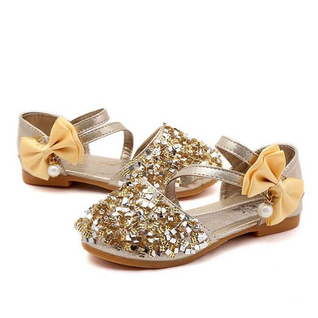 Summer New Children Casual Shoes Leather Girls Princess Flat Heel Party Shoes Fashion Sequins Bow Pearl Kids Sandals For Girls 2