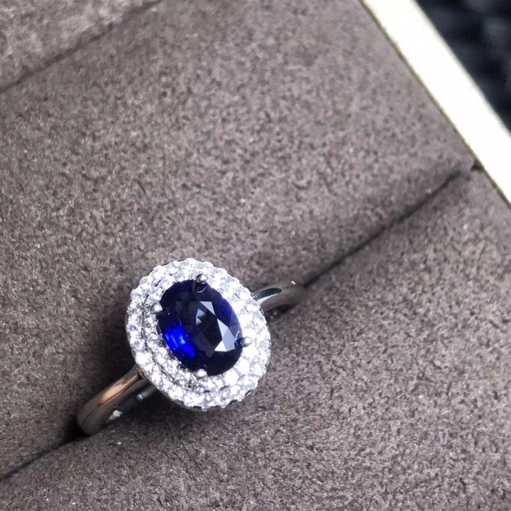 Uloveido 925 bague de promesse en argent bleu foncé saphir classique pierre de naissance Rare bijoux de mariage pas cher pour les femmes 20% FJ311