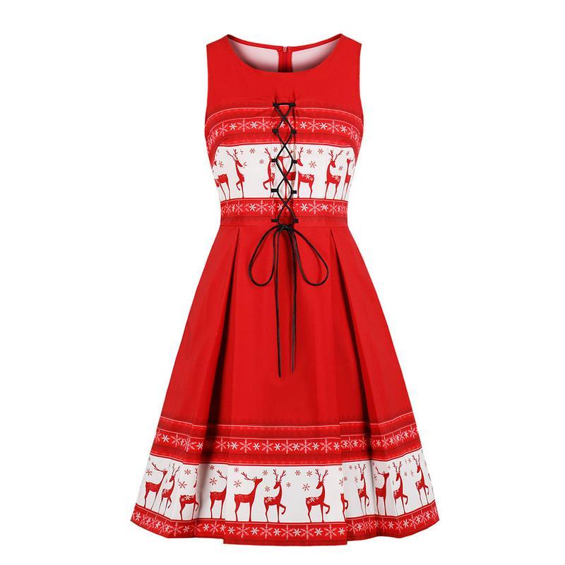 cce279aab997d iSHINE 1950s Hepburn Style Christmas Print Cross Straps Sleeveless ...