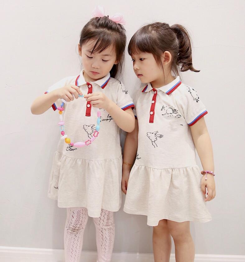 все цены на in stock 2018 Baby Girl Summer Dress Solid Color Girls Sports Short Sleeve Dresses Kids Polo Pleated Dress Breathable Clothing