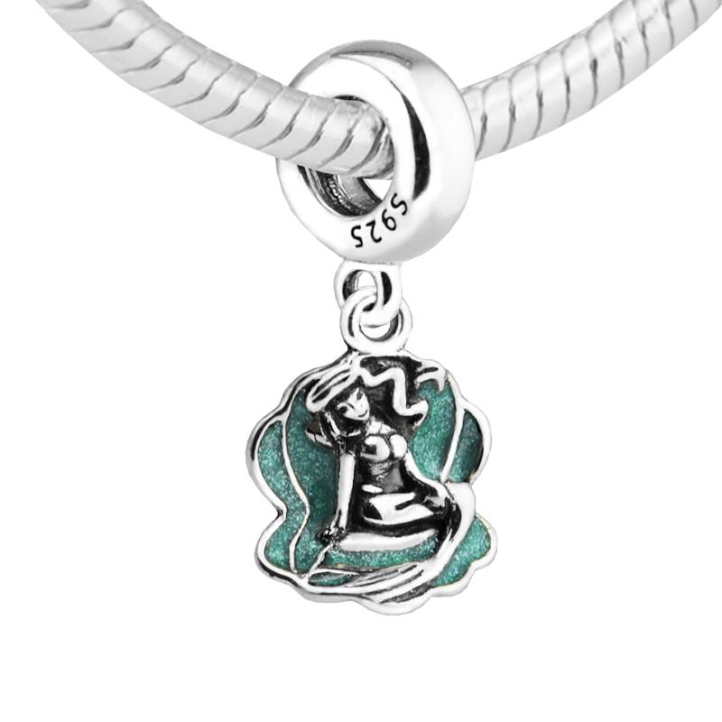 Ariel & Sea Shell Charms 100% 925 Sterling Silver Seafoam Green Enamel Charm Beads for Jewelry Making Fit Bracelets Diy PF347