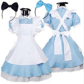 Halloween Girl Cosplay woman Alice in Wonderland Anime Cosplay costume Maid clothing Blue bow-knot evening dress Lolita Costume s 2xl blue women beer girl costume bavaria oktoberfest dress beer maid dirndl