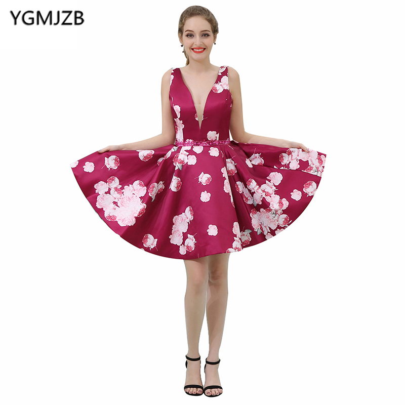 Short   Cocktail     Dresses   2019 A Line Deep V Neck Cap Sleeve Beaded Crystal Floral Print Prom   Dresses   Sexy Mini Party   Dresses