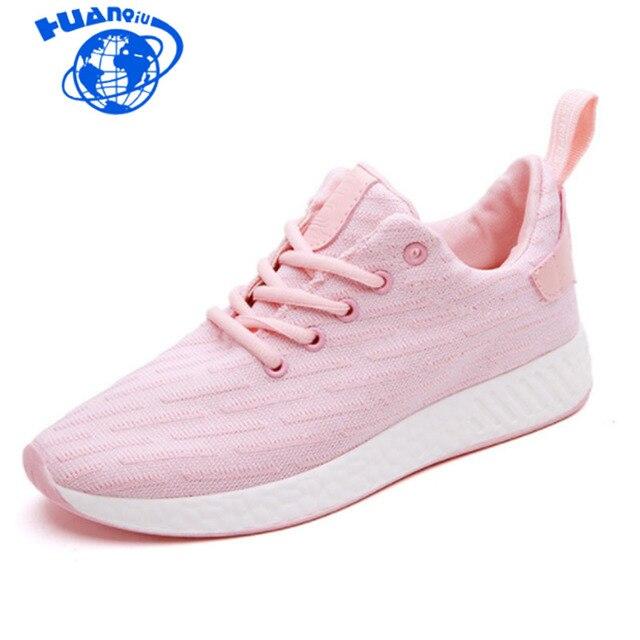 46e45a14dc HUANQIU Confortáveis as sapatilhas das mulheres air mesh primavera outono  shoes sólido preto branco