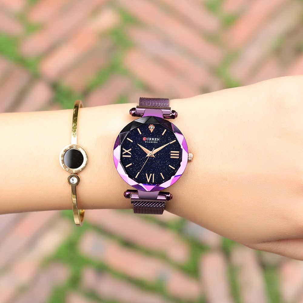 Новинка CURREN Роскошные женские часы сетчатые женские часы с магнитной пряжкой Звездная Алмазная Геометрическая поверхность повседневные кварцевые наручные часы