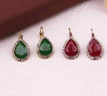 NEW Women Fashion Jewelry Style Green/Black/Red Earrings Handmade Water Drop Rhinestone sweet stud crystal Dangle earrings