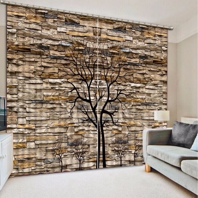 Modern Brief tree Drapes Thicking Blackout Curtains For Living room ...